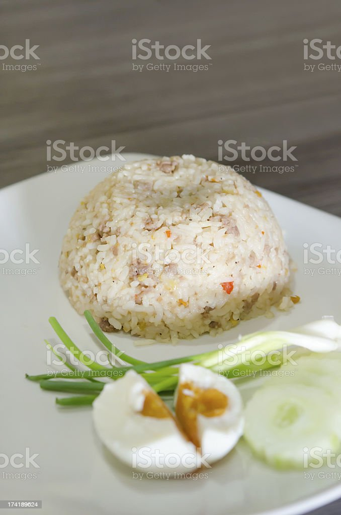 fried rice and salted egg royalty-free stock photo