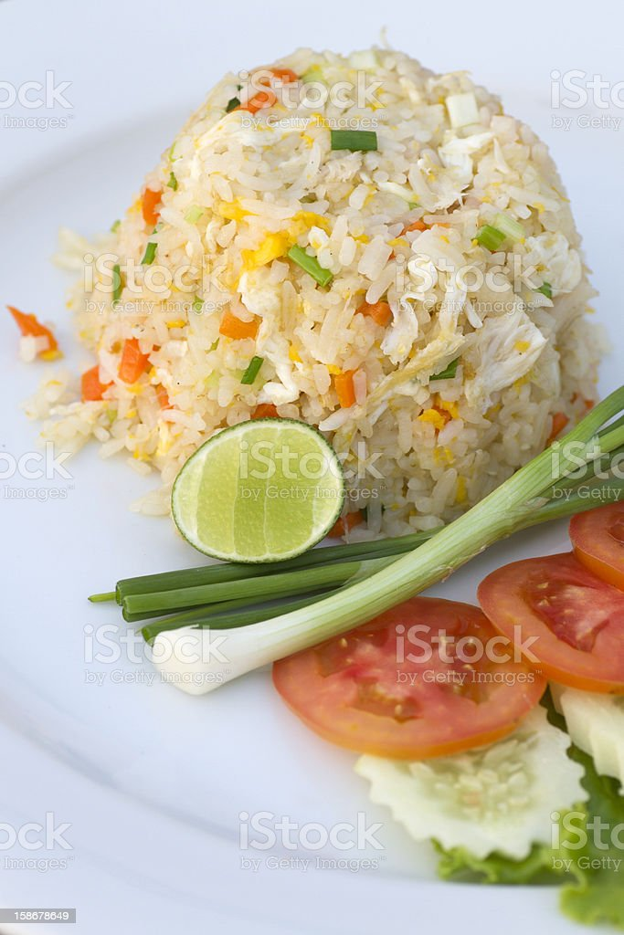 Fried Rice and Vegetable Ready to Eat royalty-free stock photo