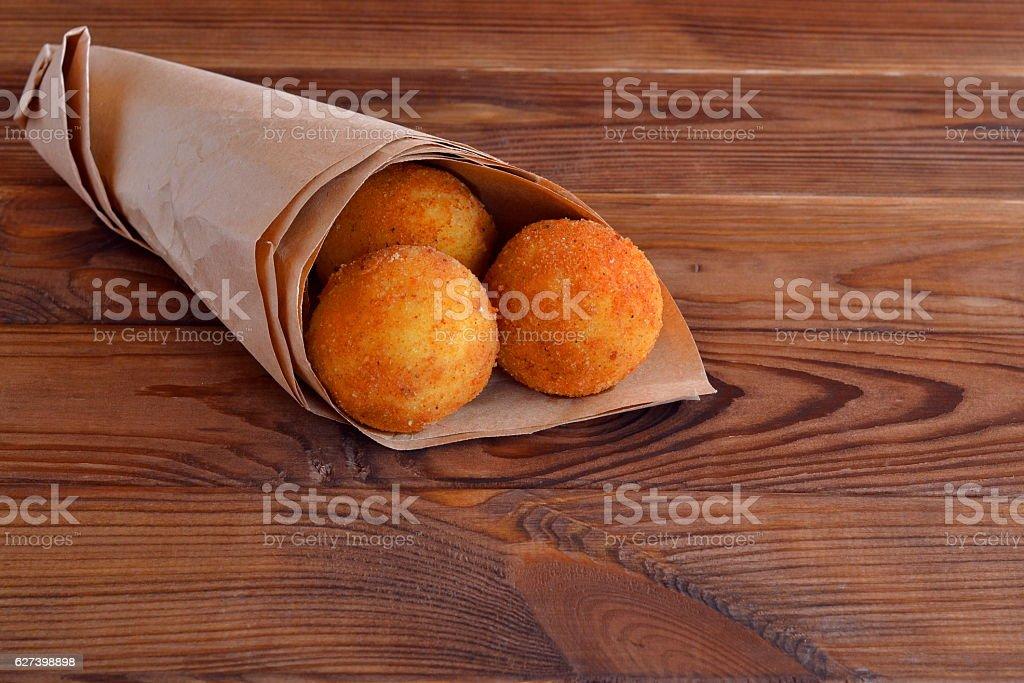 Fried rice balls stock photo
