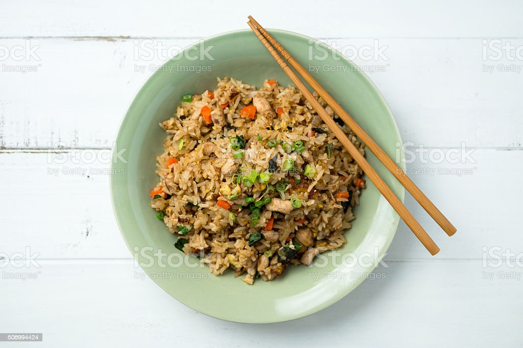 Fried Rice Centered Top View stock photo