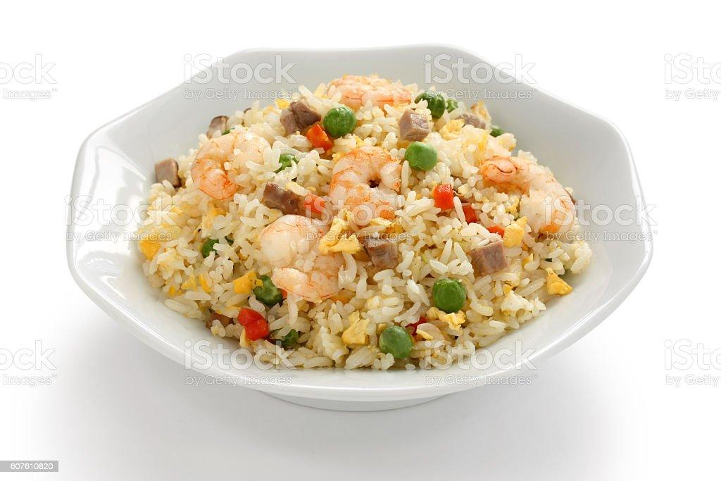 fried rice, chinese cuisine, yangzhou style stock photo