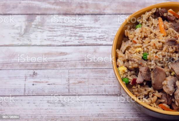 Fried Rice On Wood Table Stock Photo - Download Image Now