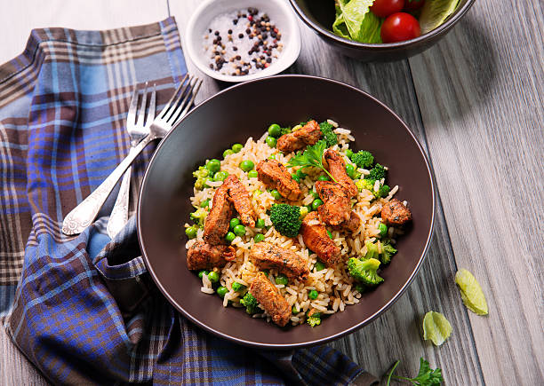 Fried Rice Fried Rice with Vegetables and Meat fried rice stock pictures, royalty-free photos & images
