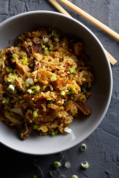 Fried rice Fried rice with beef fried rice stock pictures, royalty-free photos & images