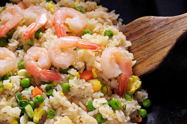 Fried Rice Fried Rice with shrimp. fried rice stock pictures, royalty-free photos & images
