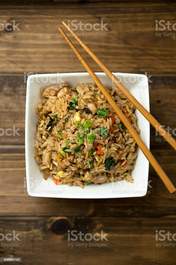 Fried Rice Top View stock photo