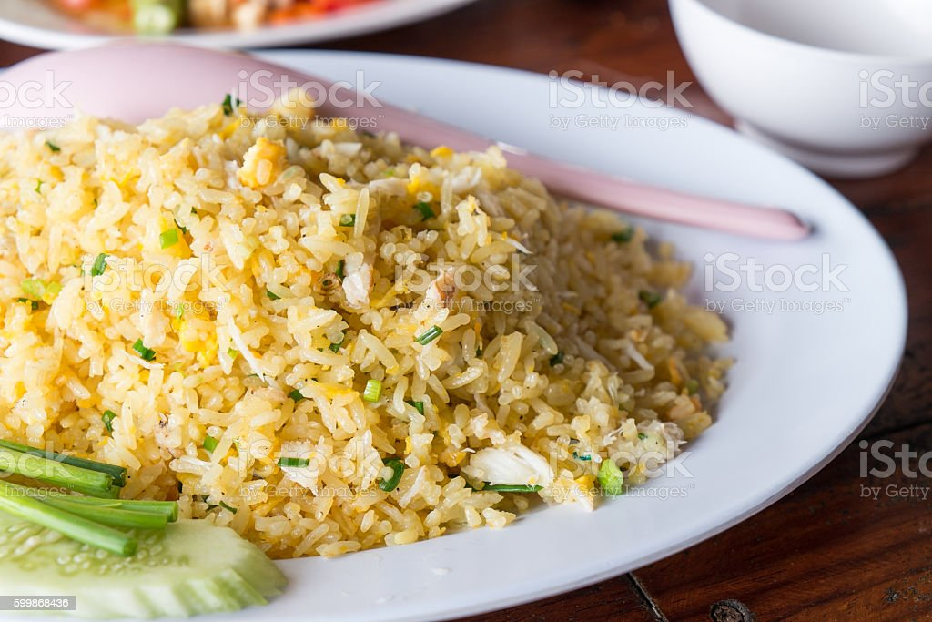fried rice with crab stock photo