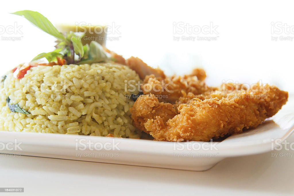 Fried rice with green curry stock photo