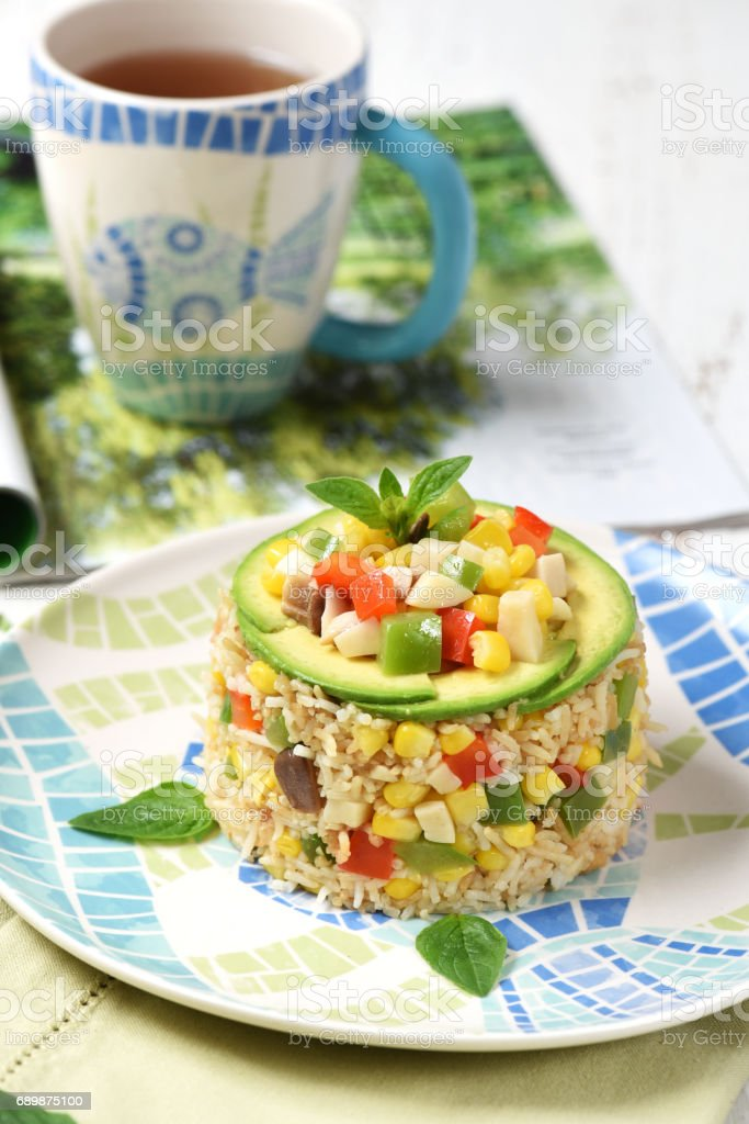 Fried Rice with Mixed Vegetables stock photo