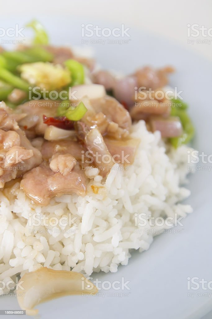 Fried rice with pork and paprika royalty-free stock photo
