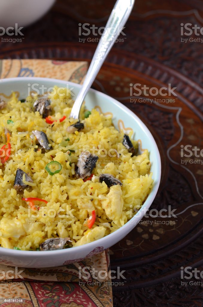 Fried Rice with Sardine stock photo