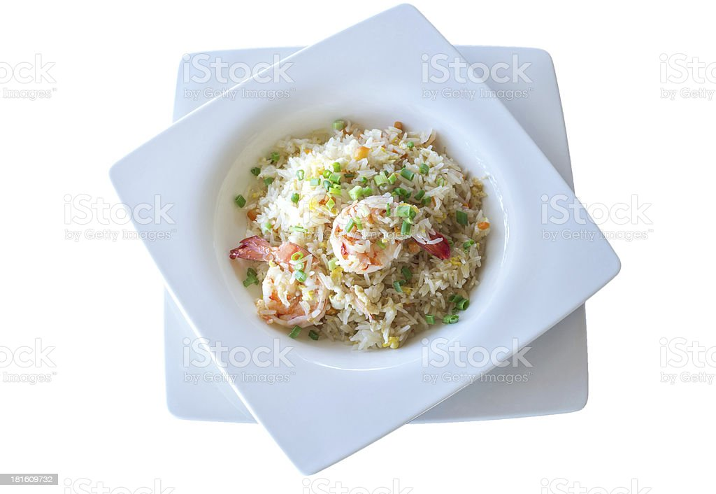 fried rice with shrimp on the white background royalty-free stock photo