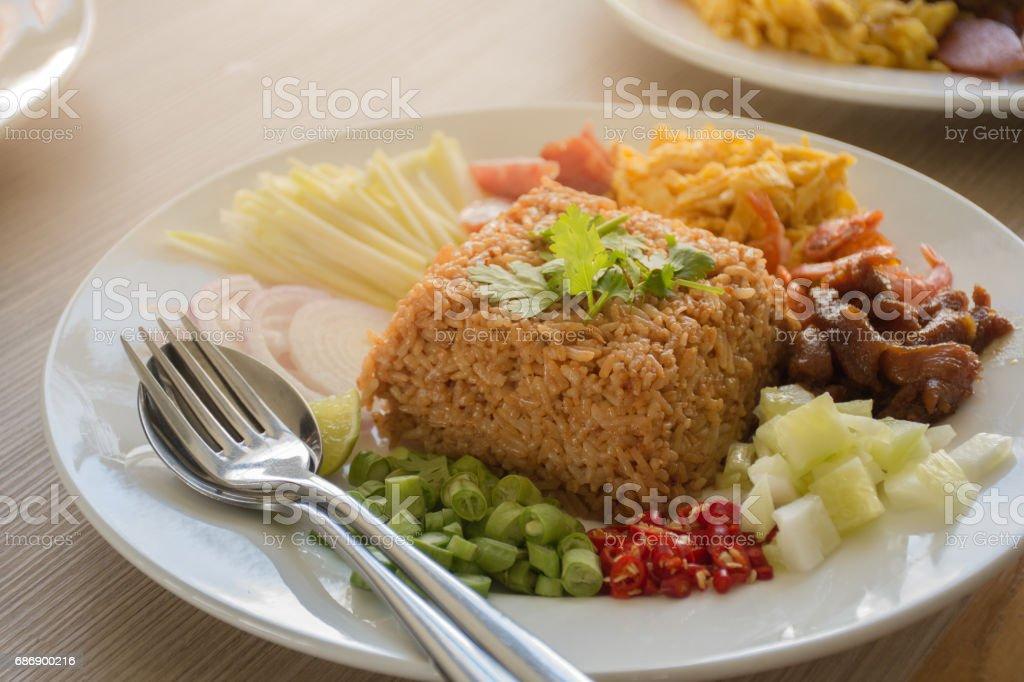 Fried rice with shrimp paste stock photo