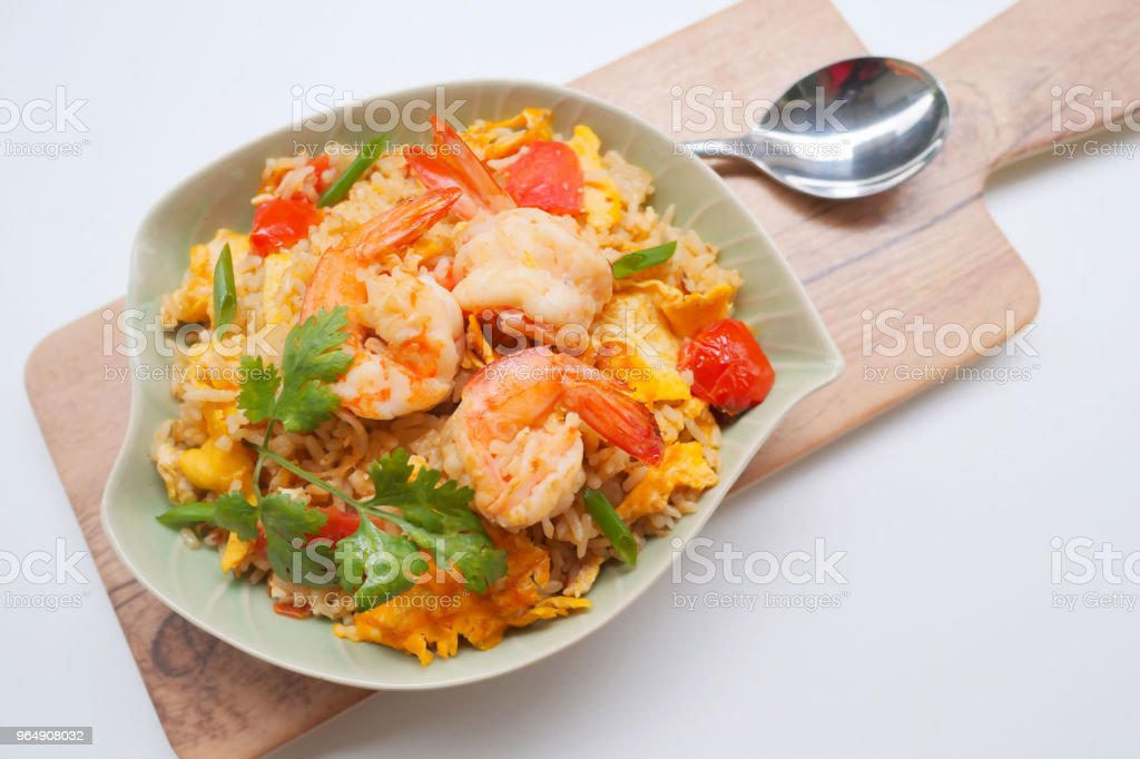 Fried rice with shrimp. royalty-free stock photo