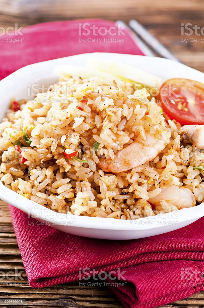 Fried Rice with Shrimps and Chicken stock photo