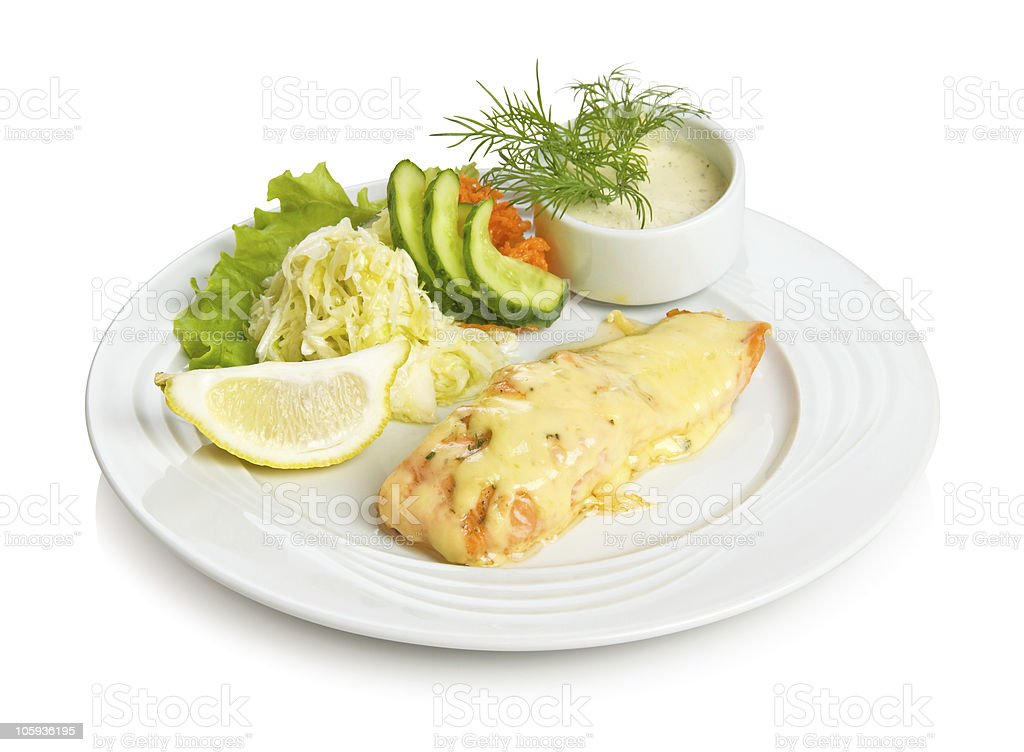 Fried salmon with cheese royalty-free stock photo