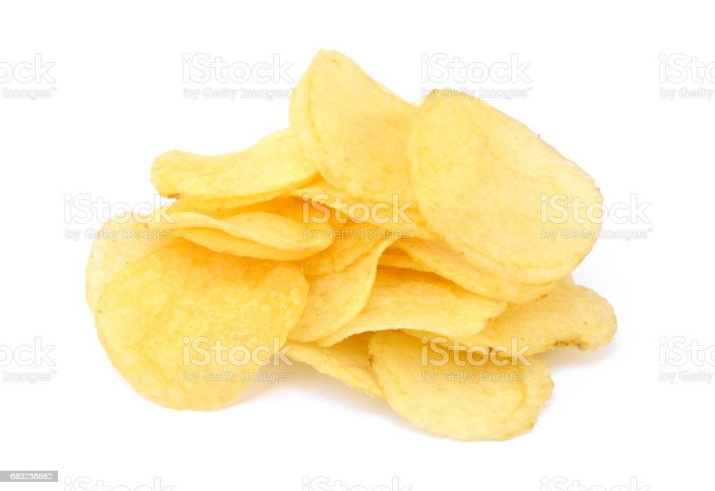 鹽漬的油炸薯片 免版稅 stock photo