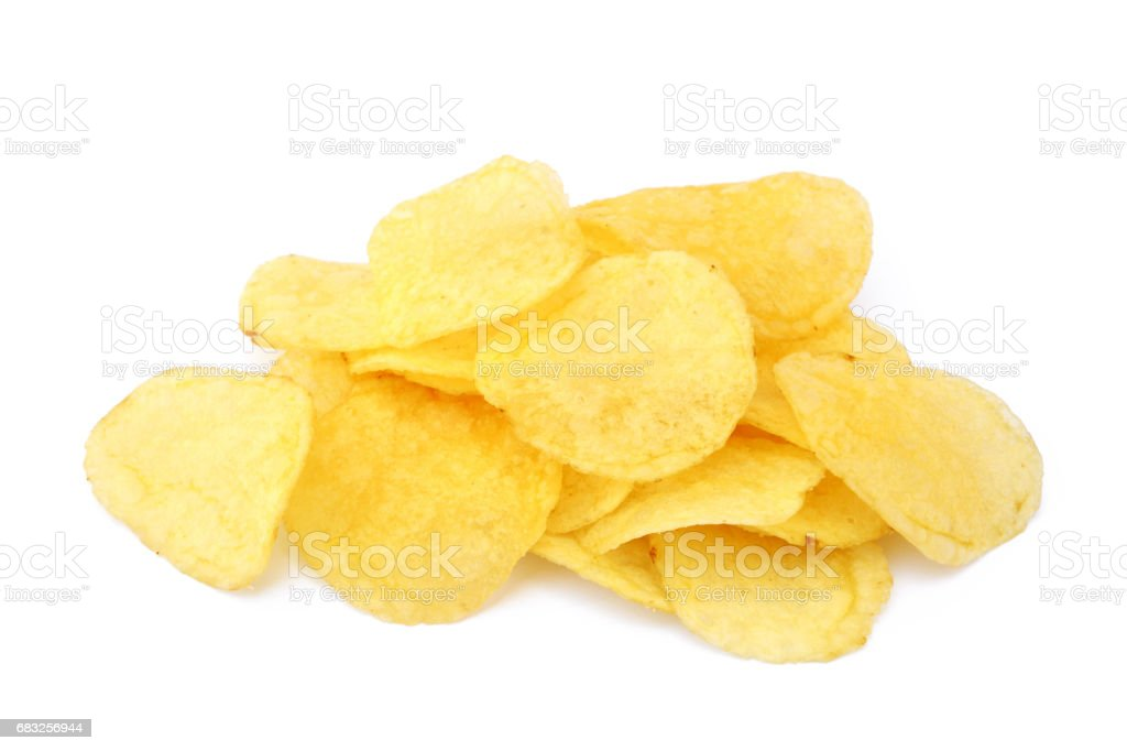 Fried salted potato chips foto de stock royalty-free