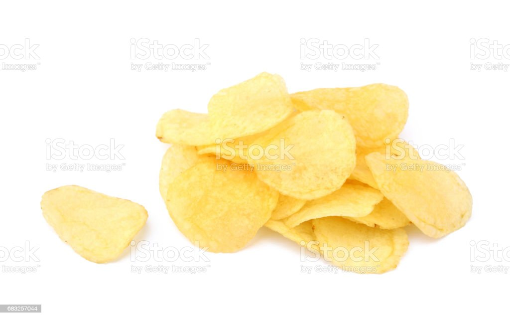 Fried salted potato chips royalty-free stock photo