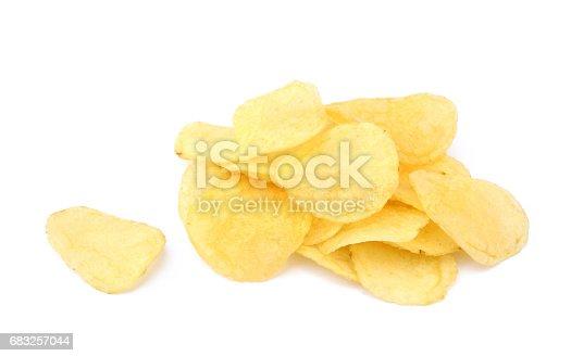 Fried Salted Potato Chips - Fotografias de stock e mais imagens de Alimentação Não-saudável