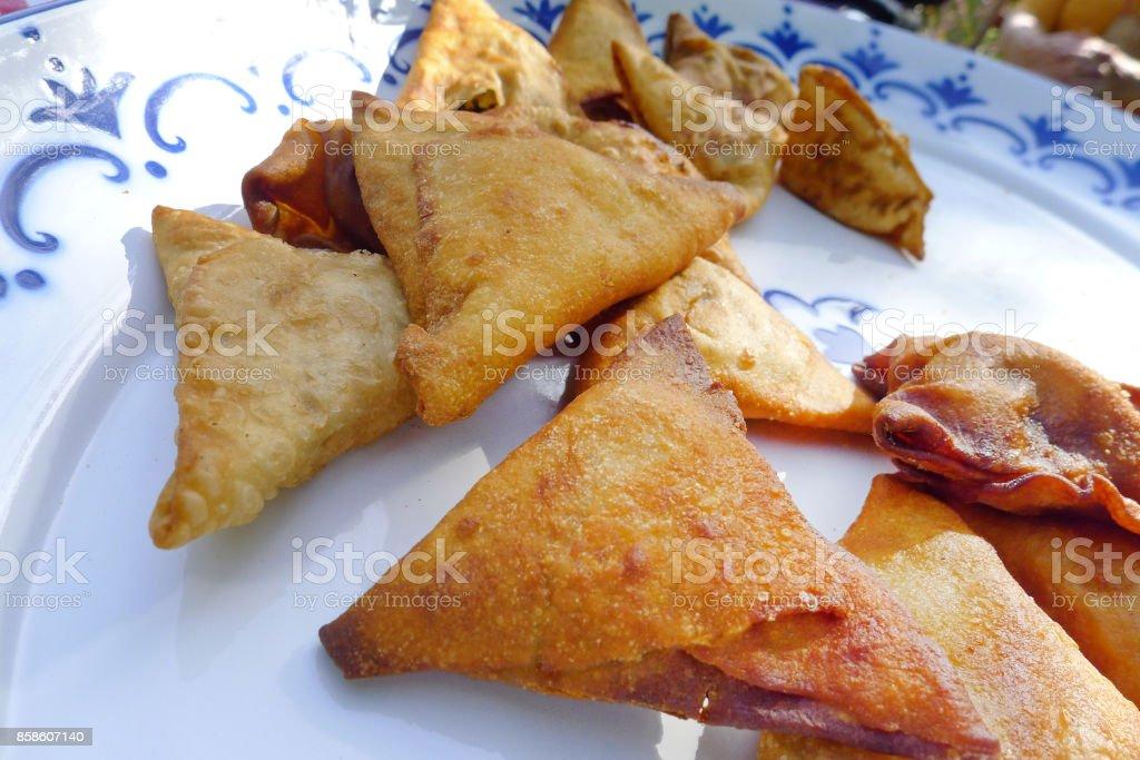 Fried samosa from Africa stock photo