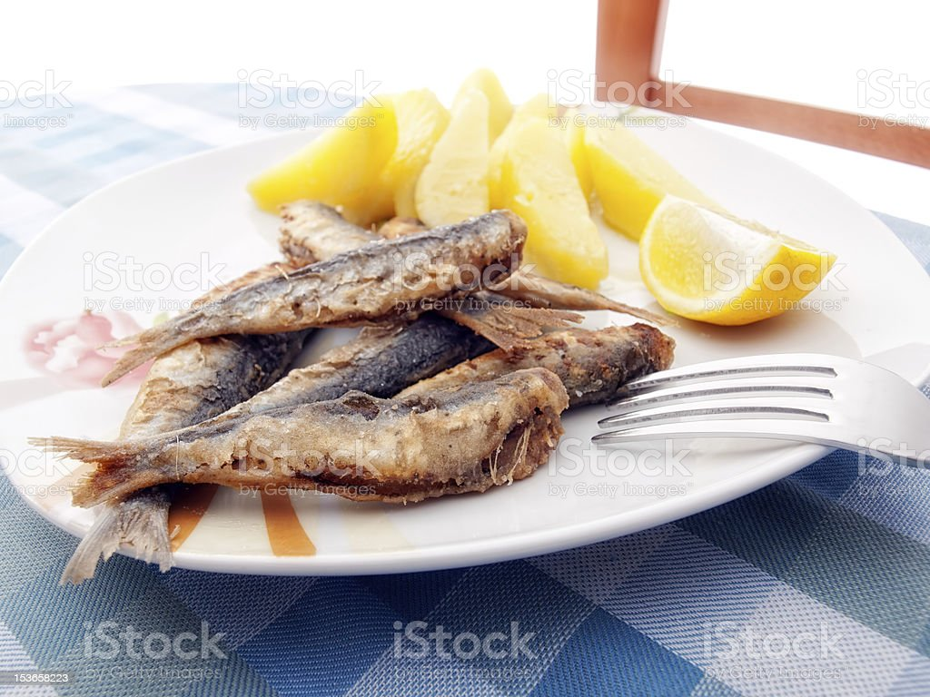 Fried sardines royalty-free stock photo