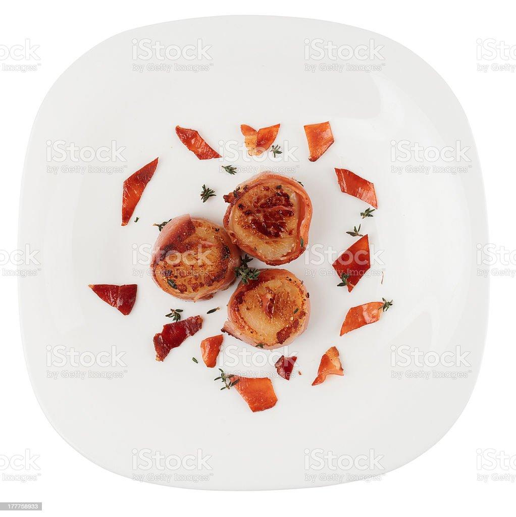 Fried scallops isolated on white background stock photo