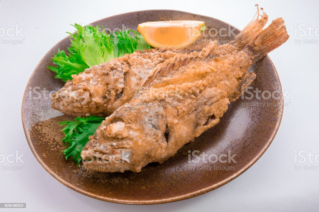 Fried Scorpion fish stock photo