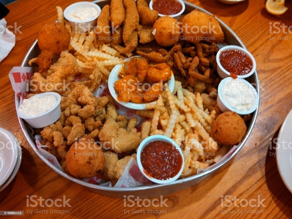 Fried Seafood Variety Platter stock photo