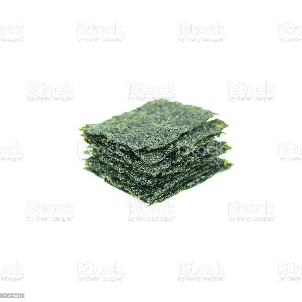 fried seaweed isolated on white background stock photo