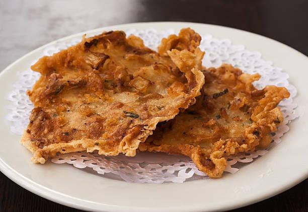 Fried shrimp cakes (tortillitas de camarones) stock photo