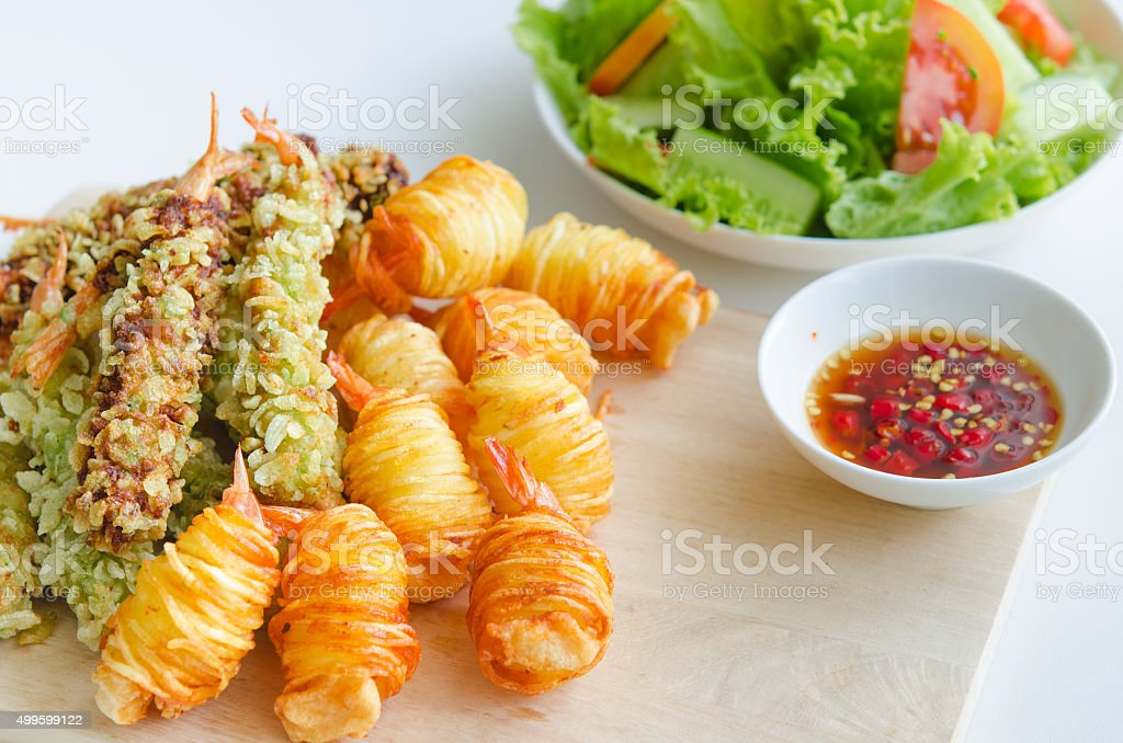 Fried shrimp. Food concept images stock photo