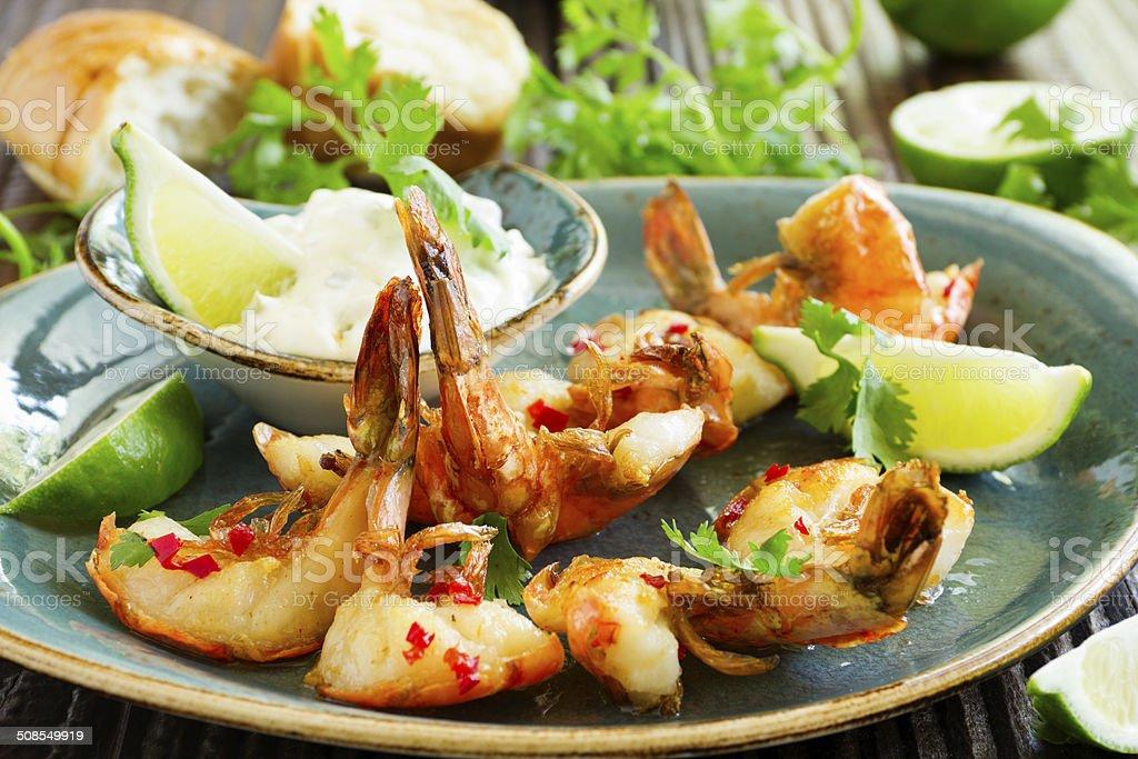 Fried shrimp with Aioli sauce. stock photo
