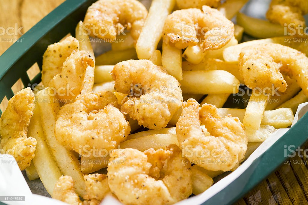 Fried Shrimp with French Fries stock photo