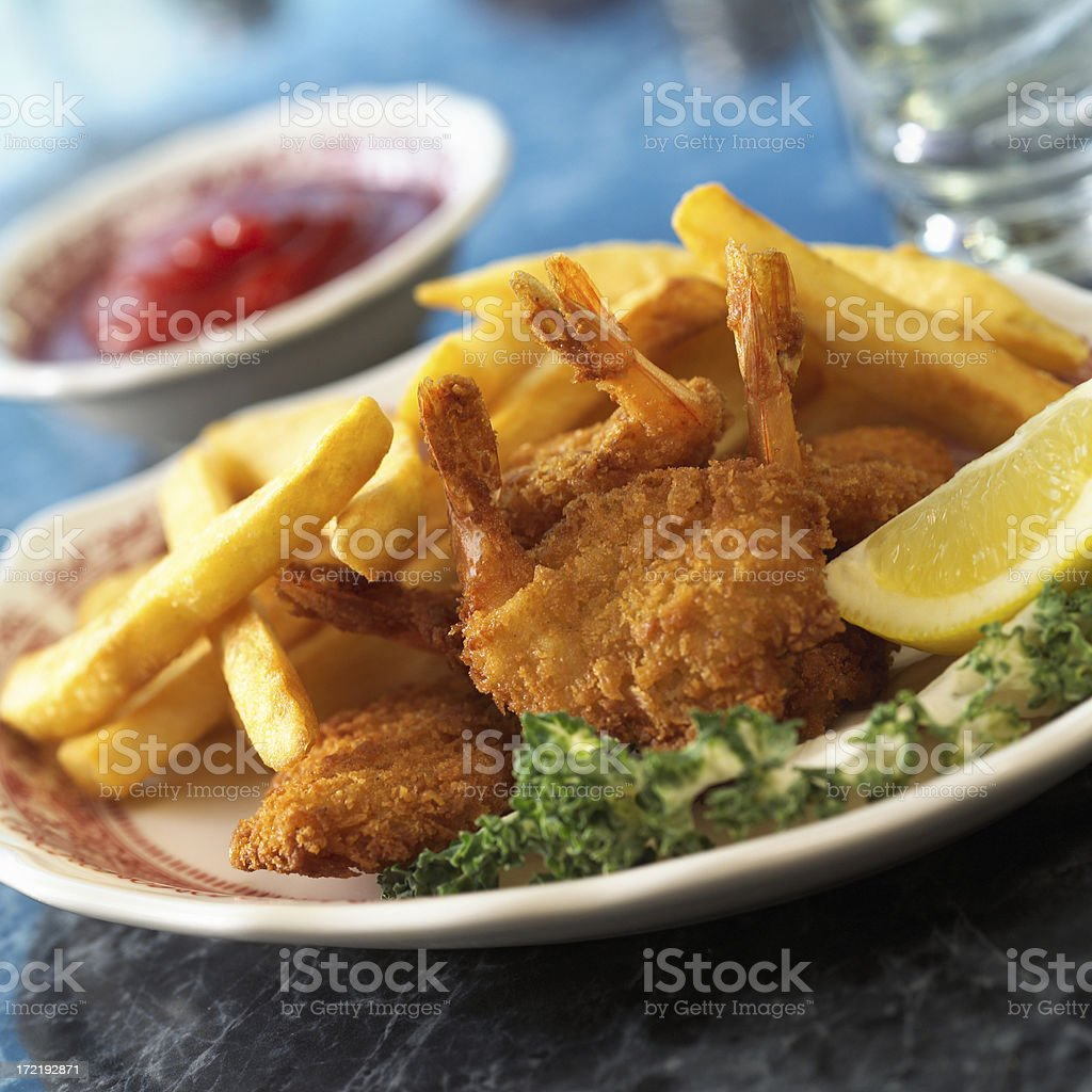 Fried Shrimp with Fries royalty-free stock photo