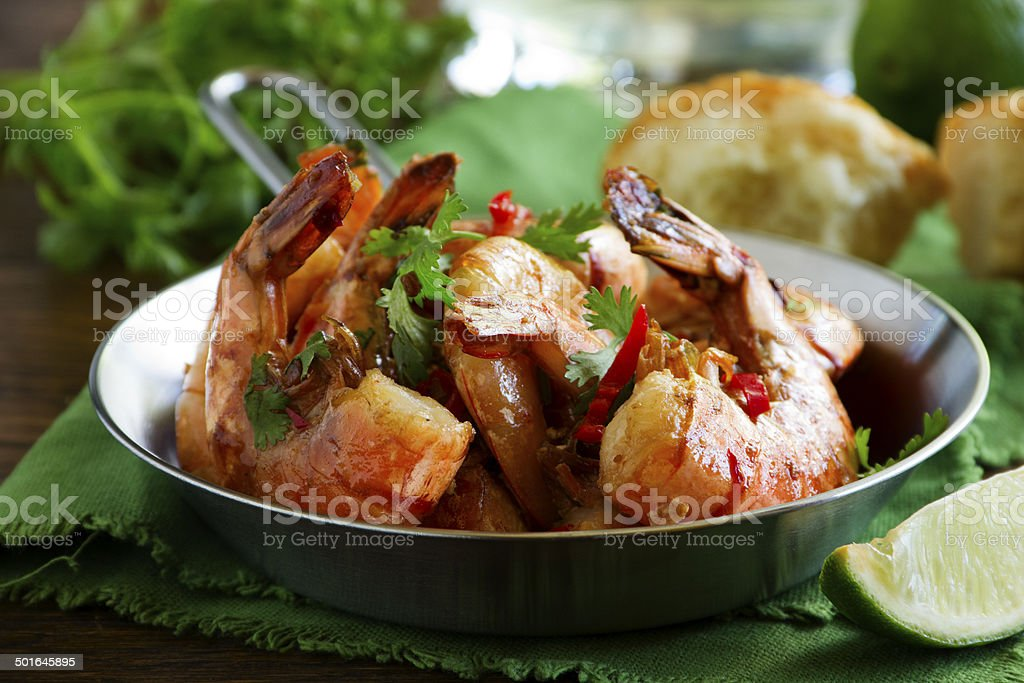 Fried shrimp with soy-ginger sauce. stock photo