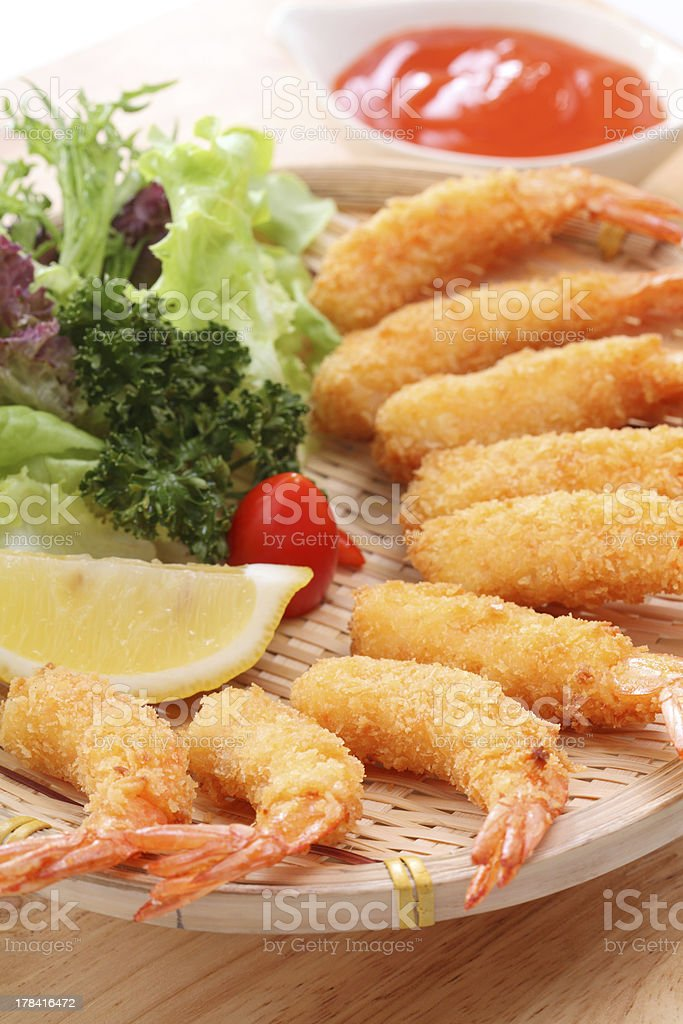 Fried Shrimps, on plate with sauce stock photo
