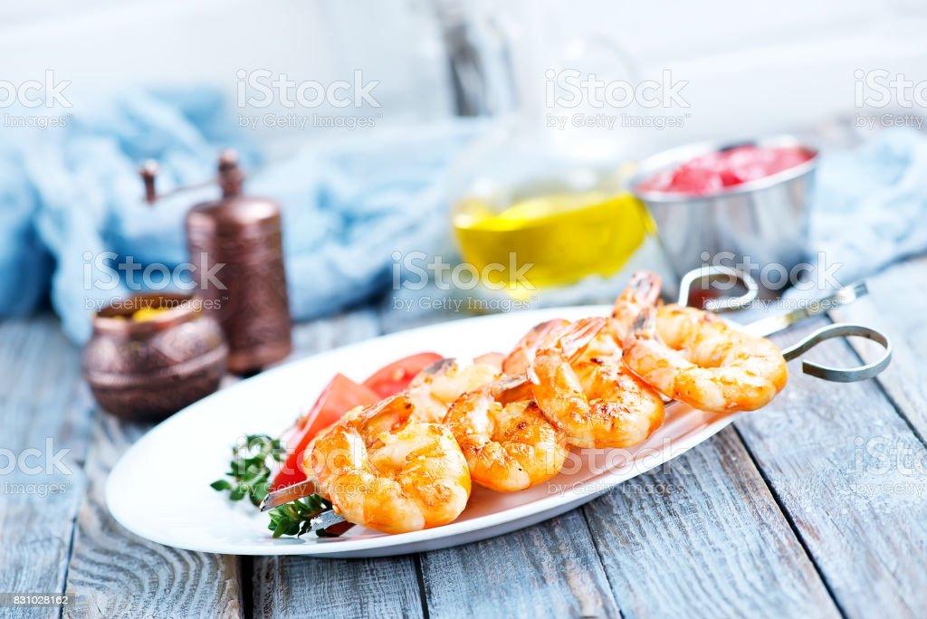 fried shrimps stock photo