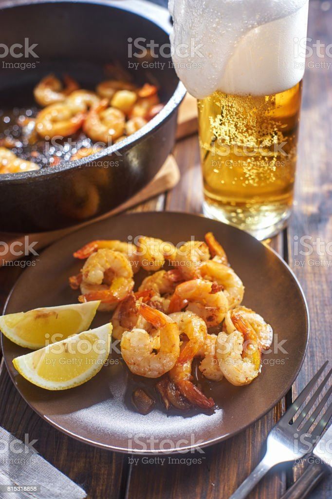 Fried shrims in plate stock photo
