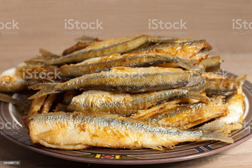 Fried smelt stock photo