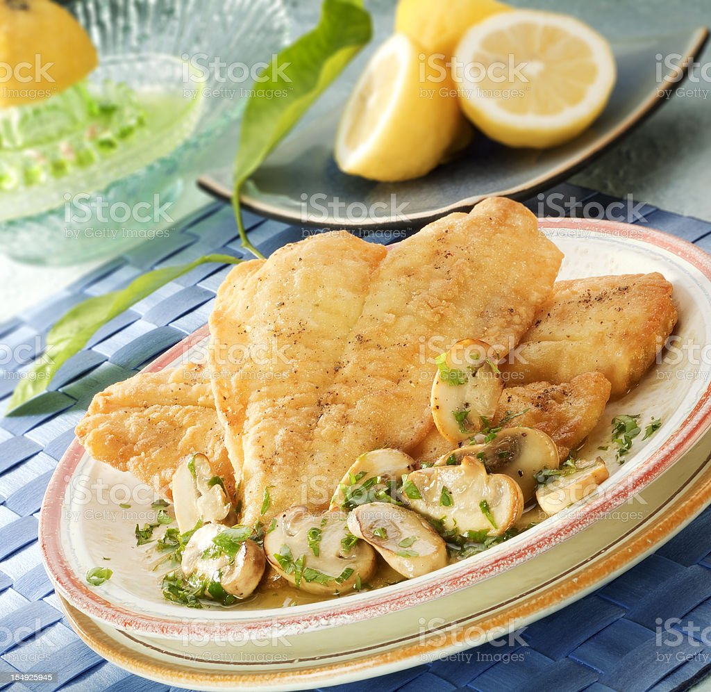 Fried sole fillets stock photo