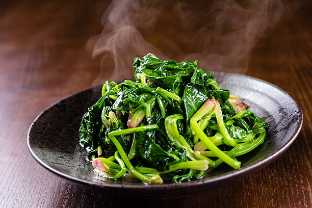 Fried Spinach stock photo