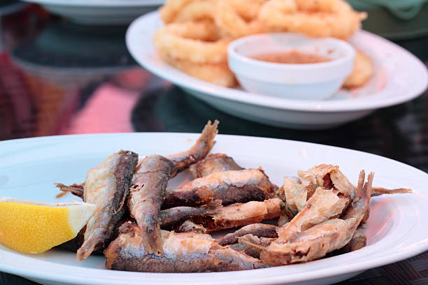 Fried sprats. stock photo