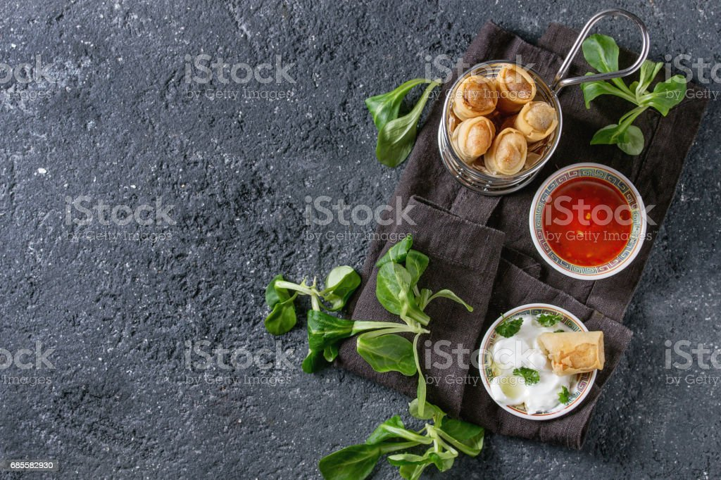 Fried spring rolls with sauce foto de stock royalty-free