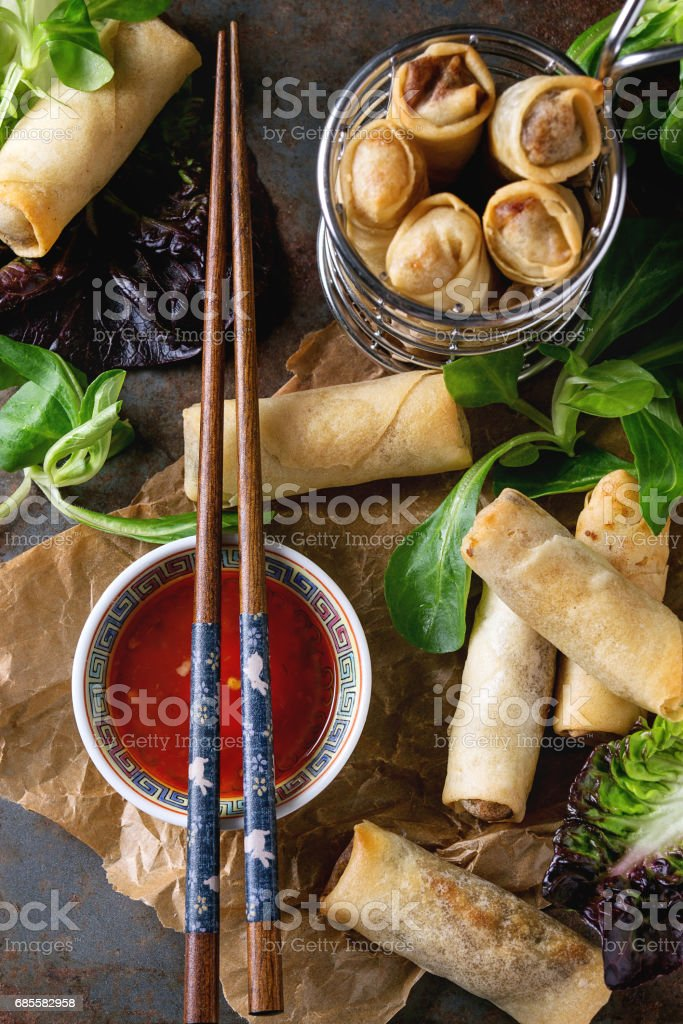 Fried spring rolls with sauce 免版稅 stock photo