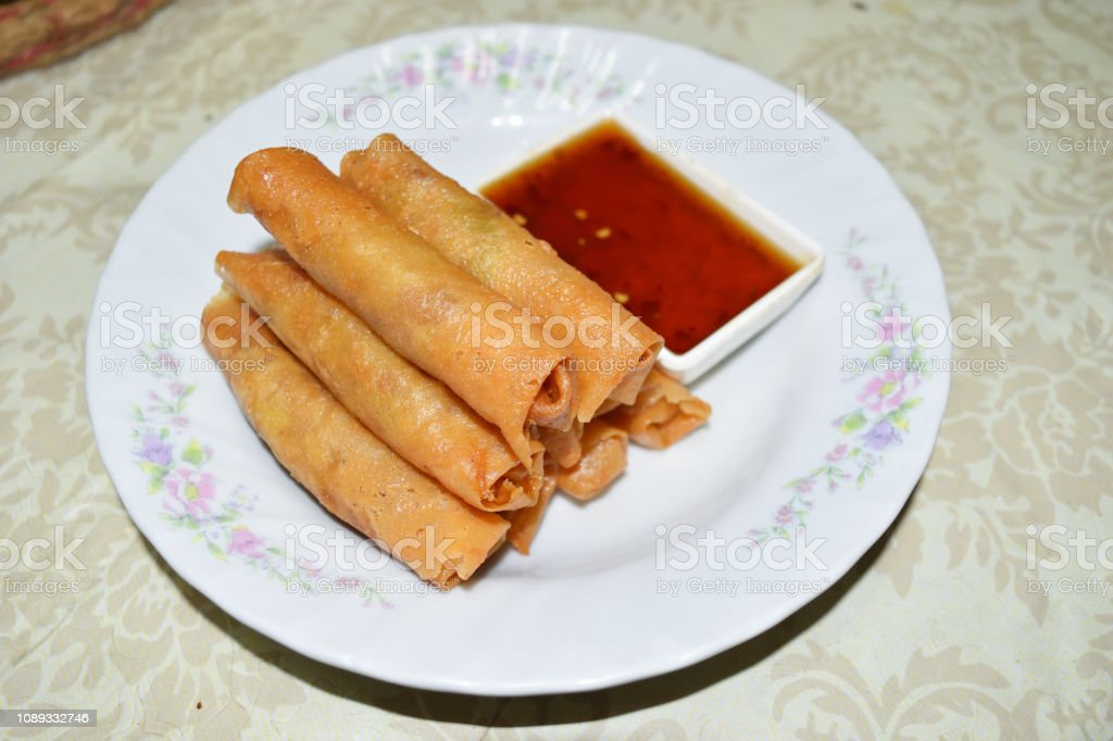 Fried Spring Rolls With Sweet Chili Sauce In A White Plate Stock Photo Download Image Now Istock