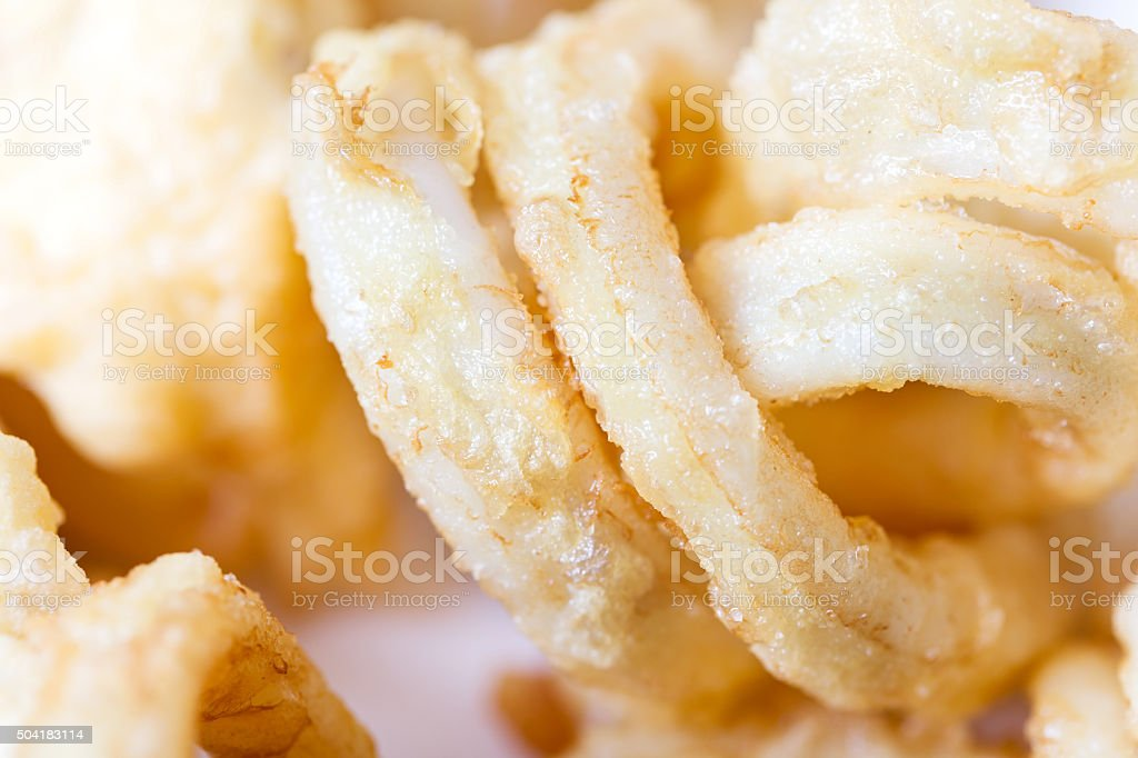 Fried squid rings stock photo