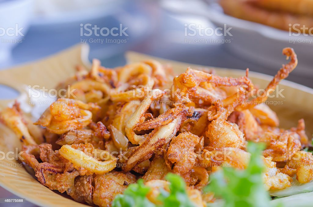 fried squids stock photo