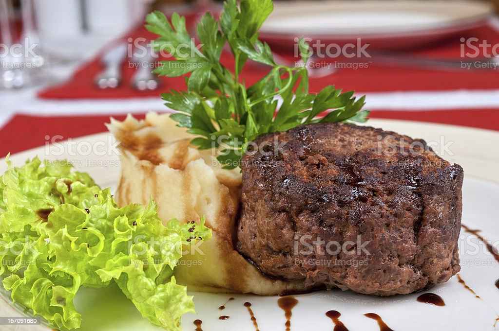 Fried steaks royalty-free stock photo