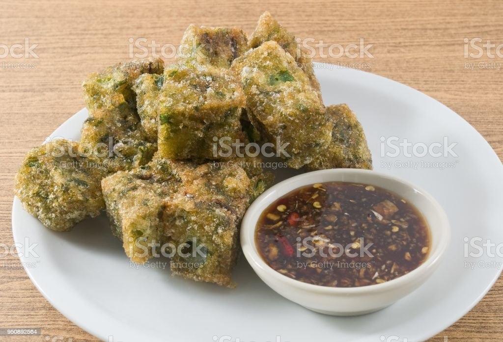 Fried Steamed Dumpling Made of Garlic Chives stock photo